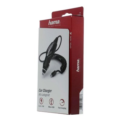 Autolader Hama USB-Micro spiraalsnoer 1X 1.2A zwart