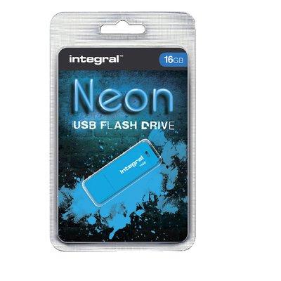 USB-stick 2.0 Integral 16GB neon blauw