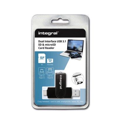 Kaartlezer Integral SD + Micro SD naar 3.1 USB-C USB-A