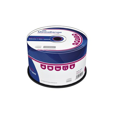CD-R MediaRange 700MB 80min 52x speed, 50 stuks