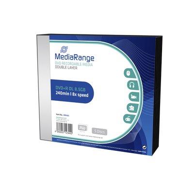 DVD+R MediaRange DL 8.5GB|Slimcase Pack a 5 stuks