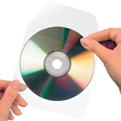 Cd/dvd hoes 3L 127x127mm klep niet zelfklevend transparant