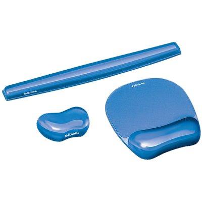 Muismat met polssteun Fellowes Crystals gel transparant blauw