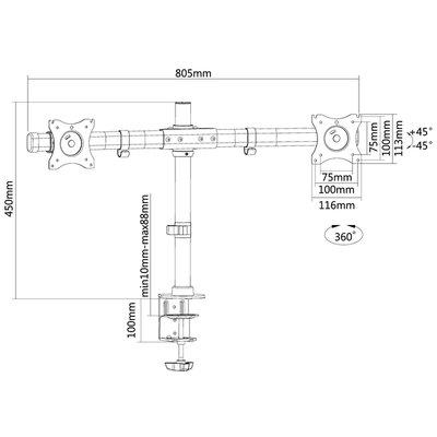 "Monitorarm Neomounts DCB100 10-27"" zwart"