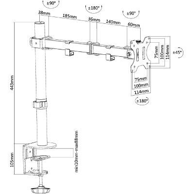"Monitorarm Neomounts D550 10-32"" zwart"