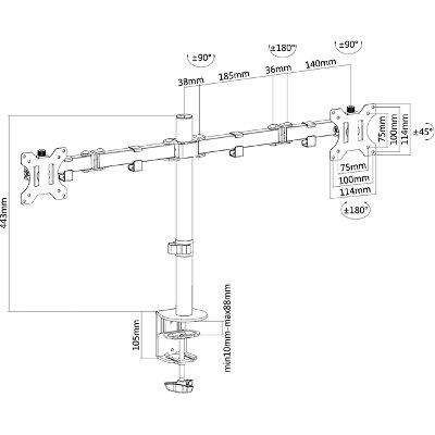 """Monitorarm Neomounts D550D 10-32"""" zwart"""
