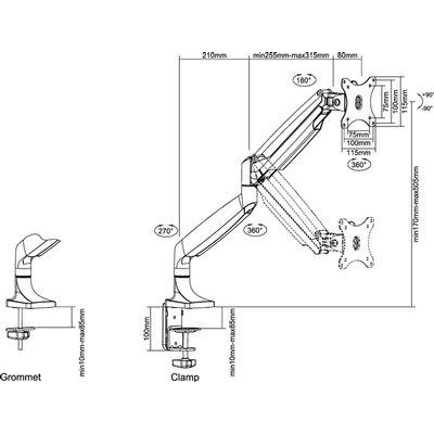 "Monitorarm Neomounts D750 10-32"" zwart"
