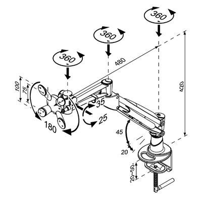 """Monitorarm Neomounts D940 10-30"""" met klem zilvergrijs"""