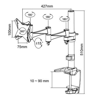 "Monitorarm Neomounts D1330 10-30"" zwart"