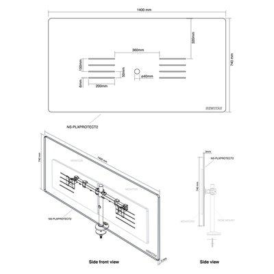 Neomounts Transparant scherm Bureau 2 Monitorarmen