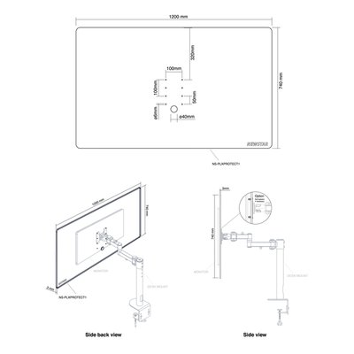 Neomounts Transparant Scherm Bureau 1 Monitorarm